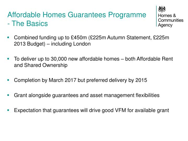 Affordable Homes Guarantees Programme