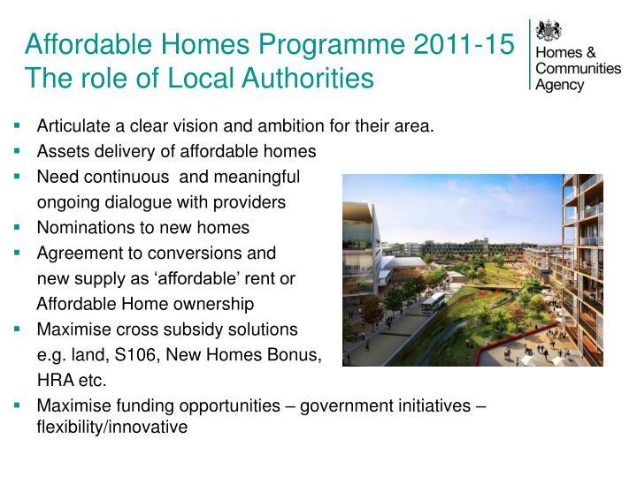 Affordable Homes Programme 2011-15
