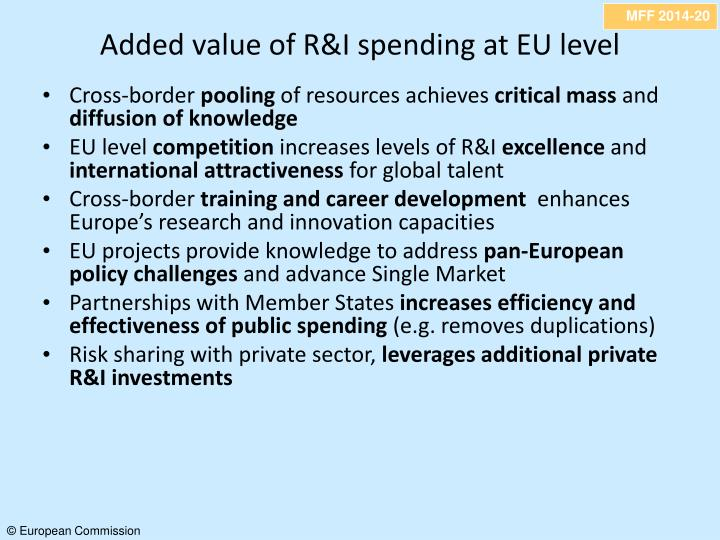 Added value of R&I spending at EU level