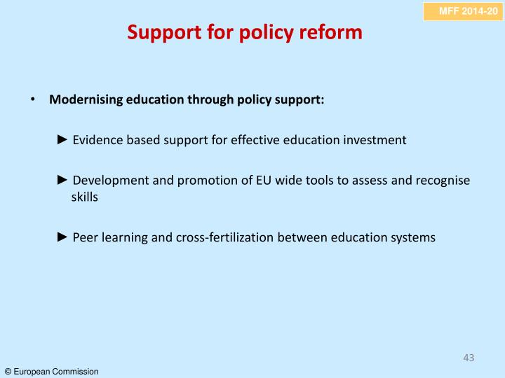Support for policy reform