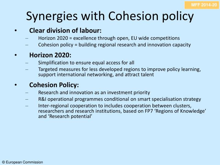 Synergies with Cohesion policy