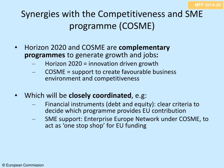 Synergies with the Competitiveness and SME programme (COSME)