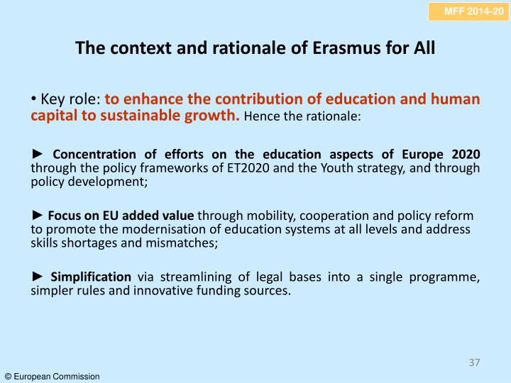 The context and rationale of Erasmus for All