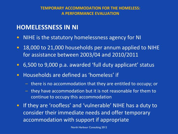 Temporary accommodation for the homeless a performance evaluation