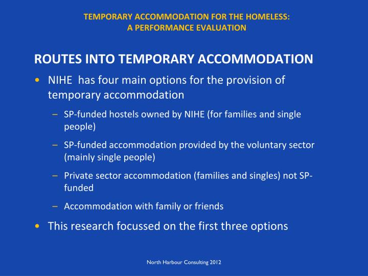 Temporary accommodation for the homeless a performance evaluation1