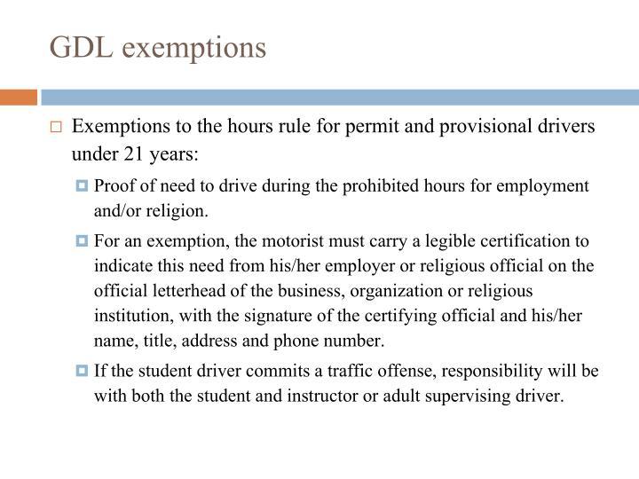 GDL exemptions
