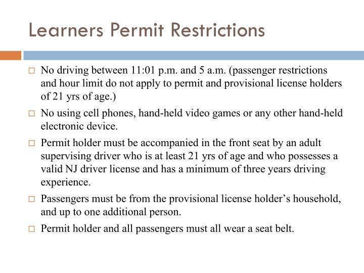 Learners Permit Restrictions