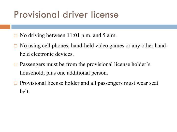 Provisional driver license