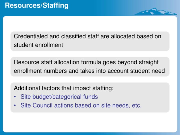 Credentialed and classified staff are allocated based on