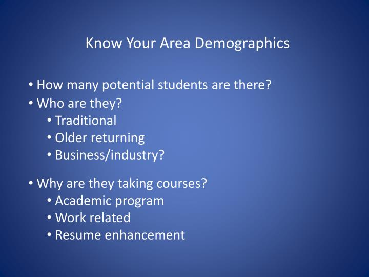 Know Your Area Demographics