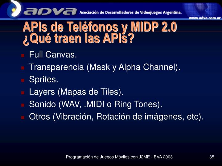 APIs de Teléfonos y MIDP 2.0