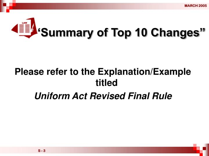 """""""Summary of Top 10 Changes"""""""