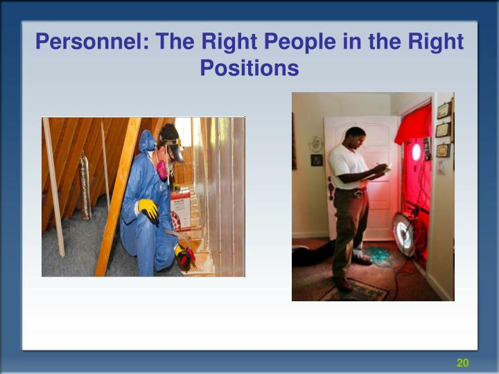 Personnel: The Right People in the Right Positions