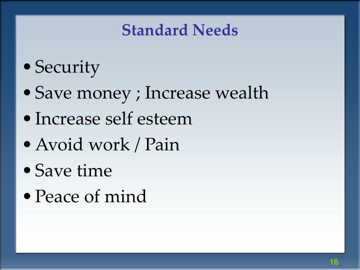 Standard Needs