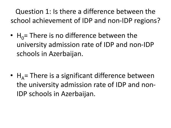 Question 1: Is there a difference between the school achievement of IDP and non-IDP regions?