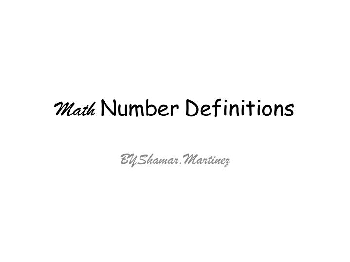 Math n umber definitions