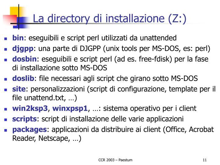 La directory di installazione (Z:)
