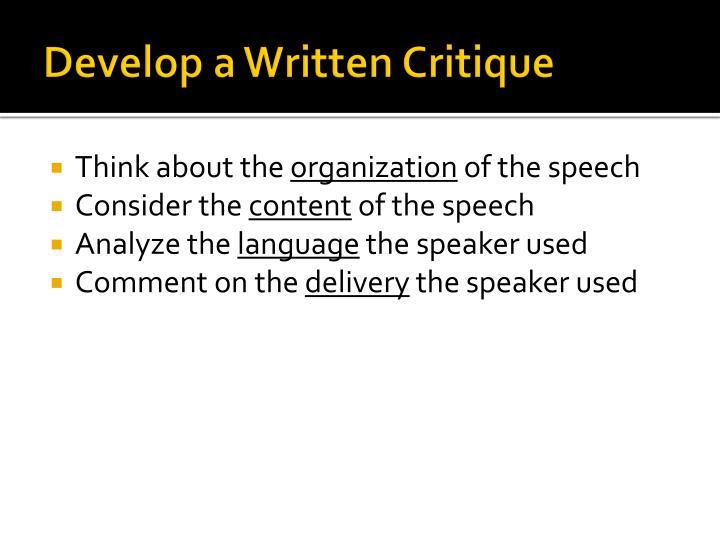 Develop a Written Critique