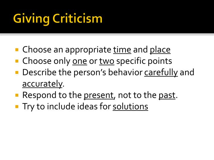 Giving Criticism