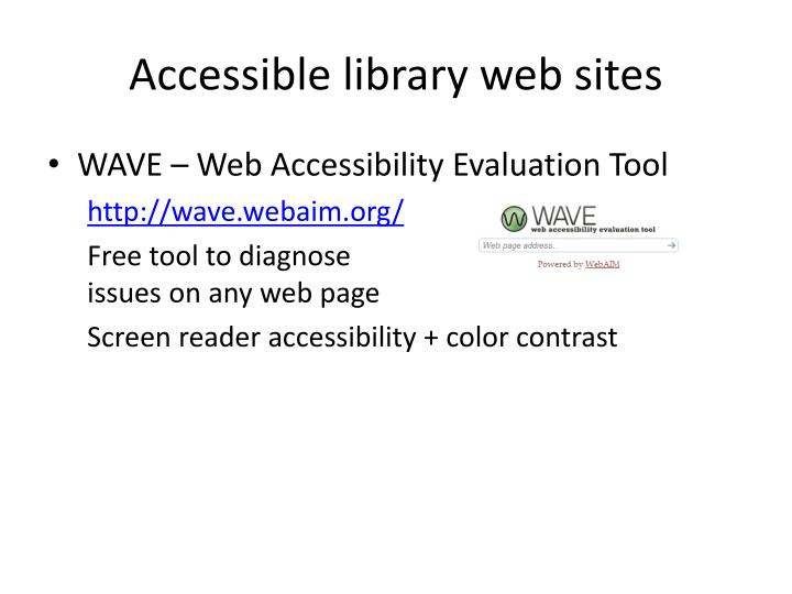 Accessible library web sites