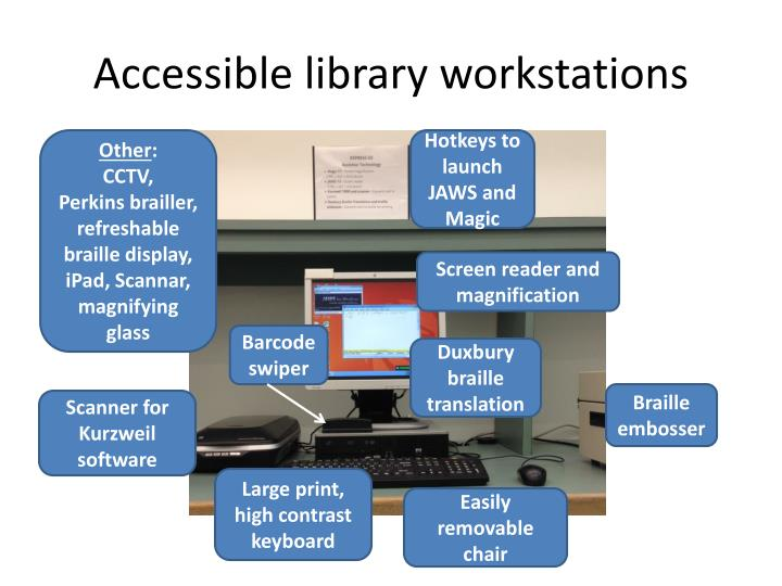 Accessible library workstations
