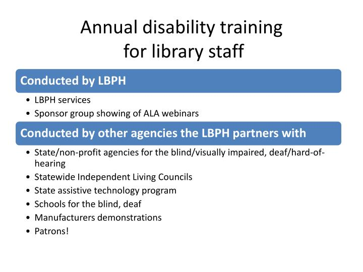 Annual disability training