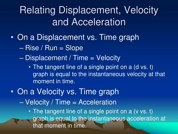 Relating Displacement, Velocity and Acceleration