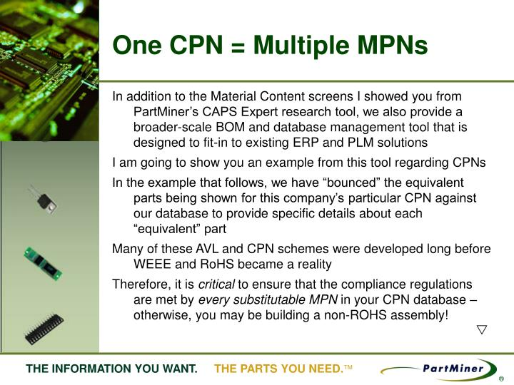 One CPN = Multiple MPNs