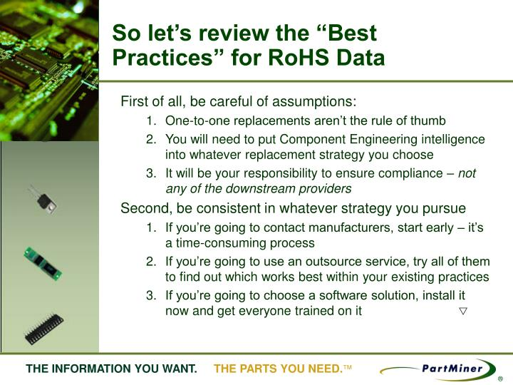"""So let's review the """"Best Practices"""" for RoHS Data"""