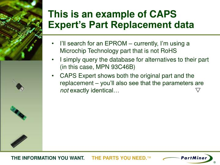 This is an example of CAPS Expert's Part Replacement data