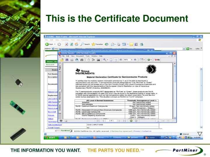 This is the Certificate Document
