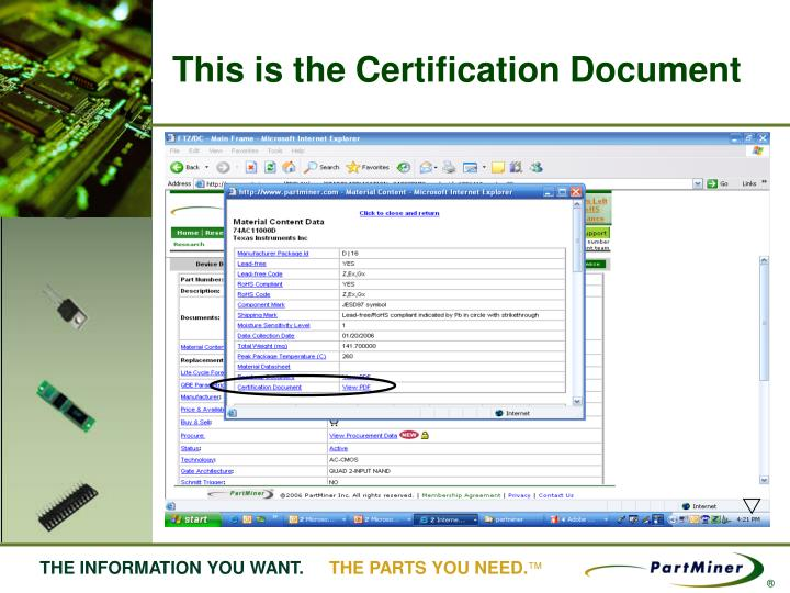 This is the Certification Document
