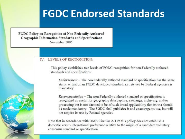 FGDC Endorsed Standards