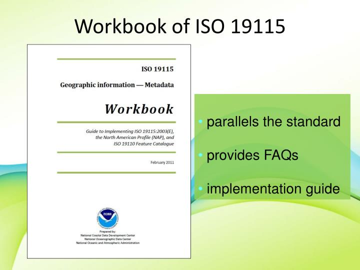 Workbook of ISO 19115