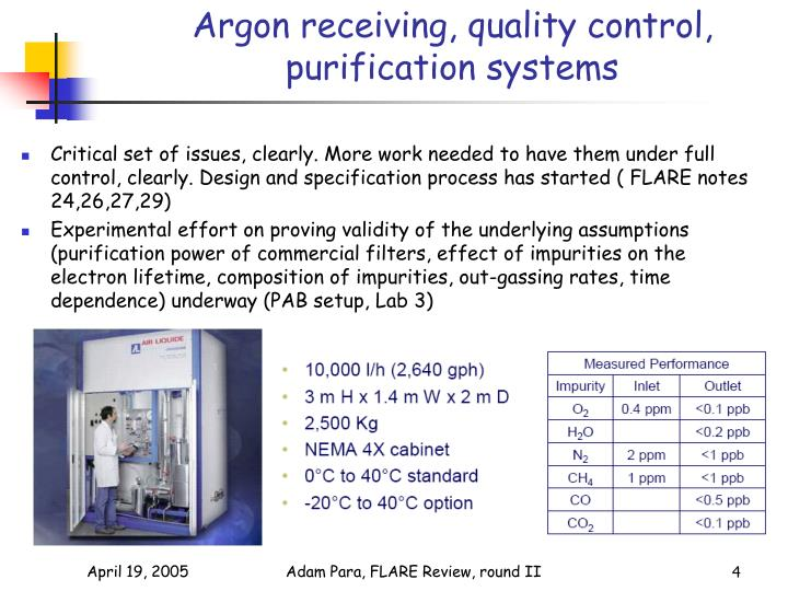 Argon receiving, quality control, purification systems