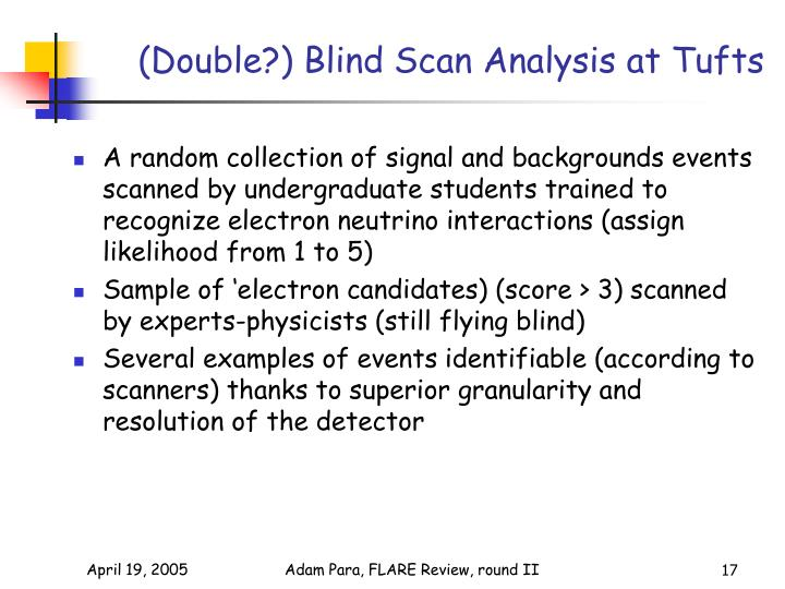 (Double?) Blind Scan Analysis at Tufts