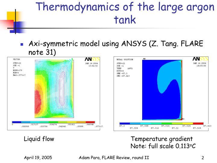 Thermodynamics of the large argon tank