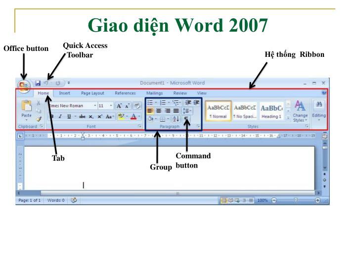 Giao diện Word 2007