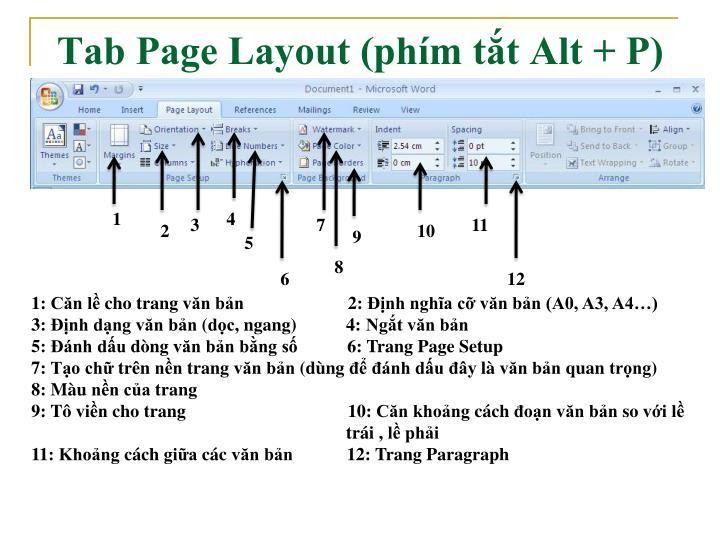 Tab Page Layout (phím tắt Alt + P)