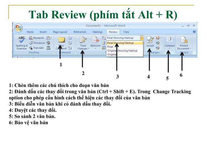 Tab Review (phím tắt Alt + R)