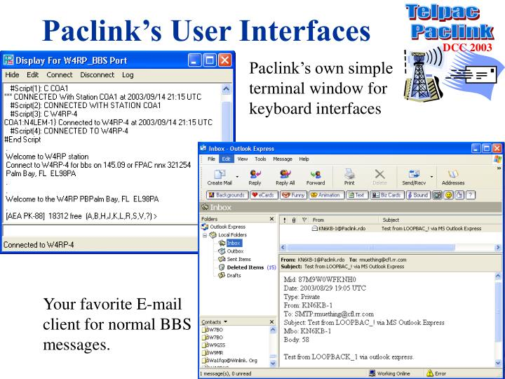 Paclink's User Interfaces