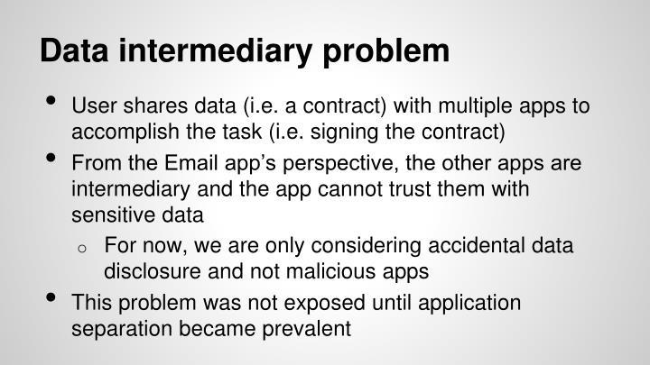 Data intermediary problem