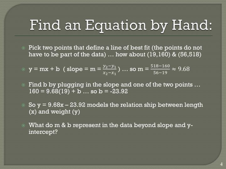 Find an Equation by Hand: