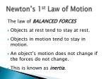 newton s 1 st law of motion