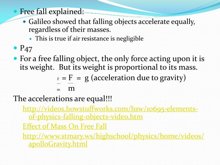 Free fall explained: