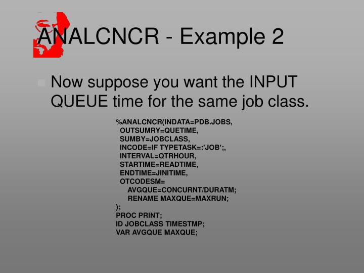 ANALCNCR - Example 2