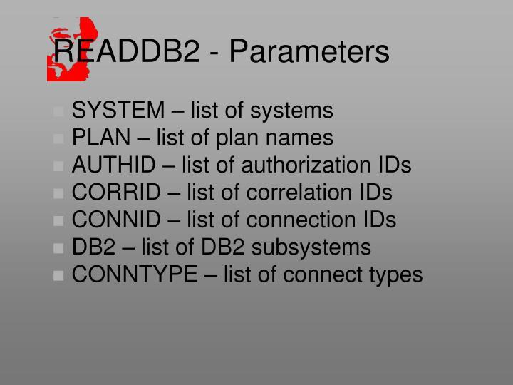 READDB2 - Parameters