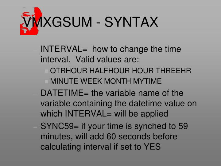 VMXGSUM - SYNTAX
