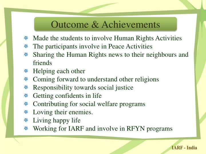 Outcome & Achievements