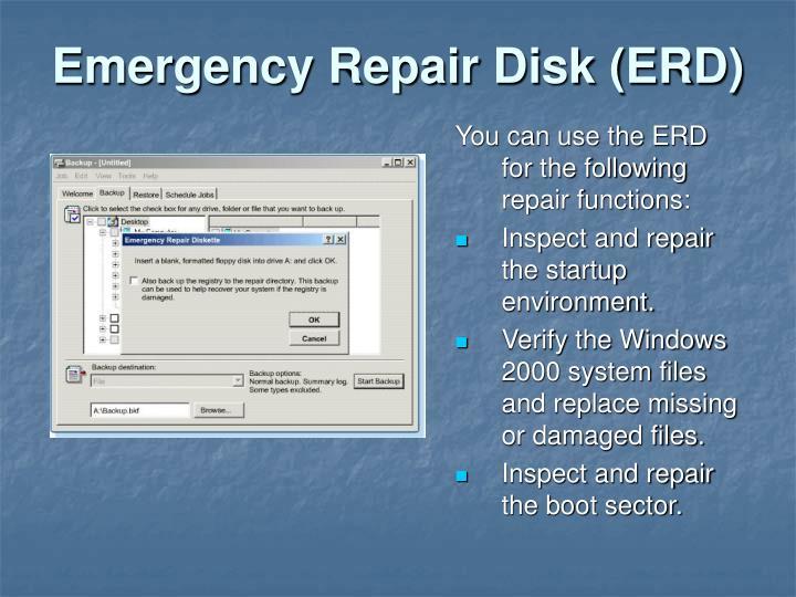 Emergency Repair Disk (ERD)